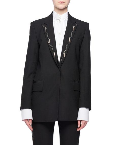 Victoria Victoria Beckham Hook-Eye Closure Wool-Blend Jacket w/ Beaded Collar