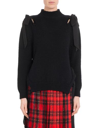 Mock-Neck Bow-Shoulder Merino Wool Knit Pullover Sweater