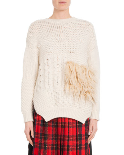 Round-Neck Alpaca-Blend Cable-Knit Sweater w/ Faux-Fur Patch