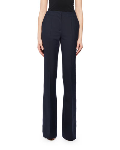 Seam Front Wool-Blend Boot-Cut Pants