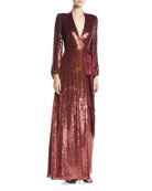 Jenny Packham Aries V-Neck Long-Sleeve Wrap Sequin Evening