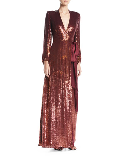 Aries V-Neck Long-Sleeve Wrap Sequin Evening Gown