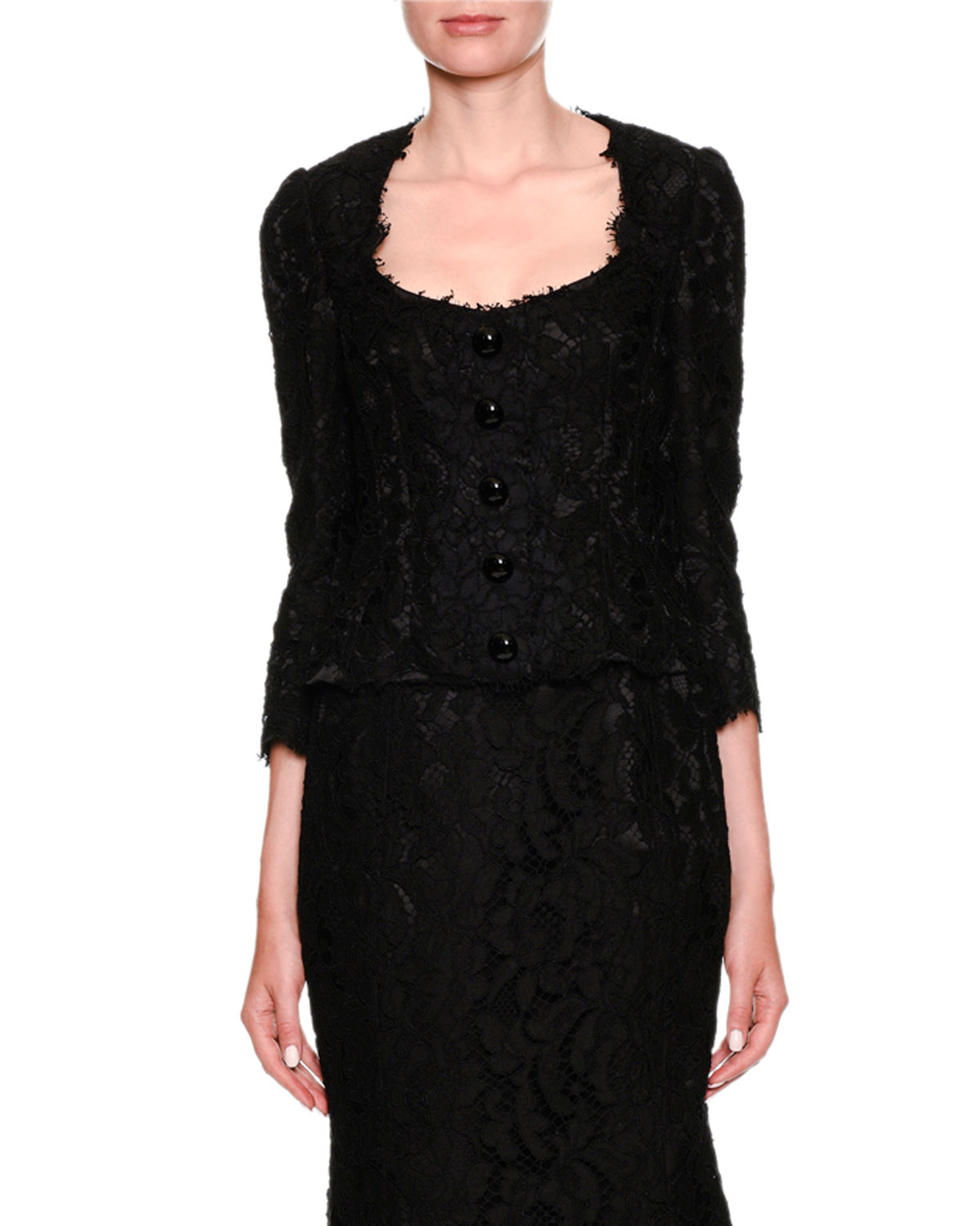 Long-Sleeve Button-Front Lace Jacket