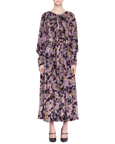 Carwen Knot Keyhole-Front Full-Sleeve Velvet Voile Jacquard Evening Dress