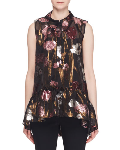Sleeveless Metallic-Floral Fil Coupe Babydoll Top w/ Shirt Collar