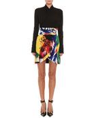 Versace Abstract-Print Tulip Mini Skirt