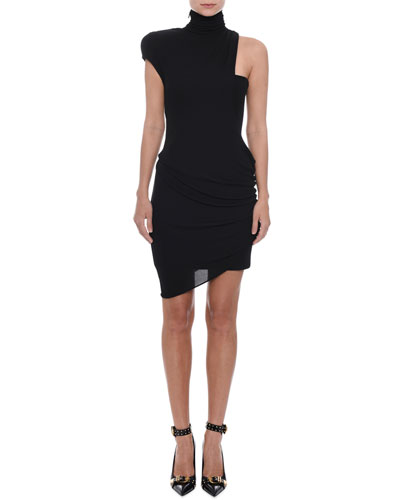 Sleeveless Turtleneck Fitted Asymmetric Cocktail Dress
