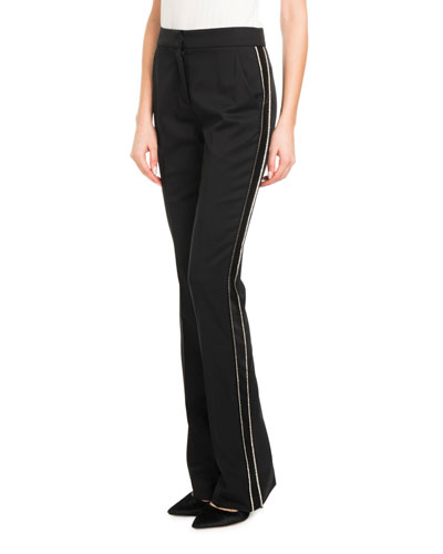 Mid-Rise Straight-Leg Virgin Wool Pants w/Beaded Tux Stripe