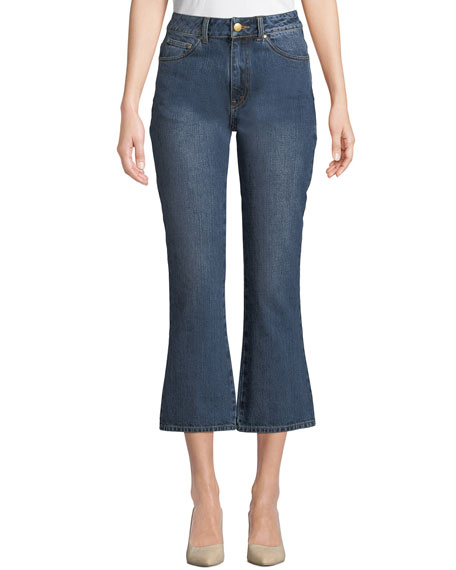 Co High-Rise Five-Pocket Flared-Leg Cropped Jeans