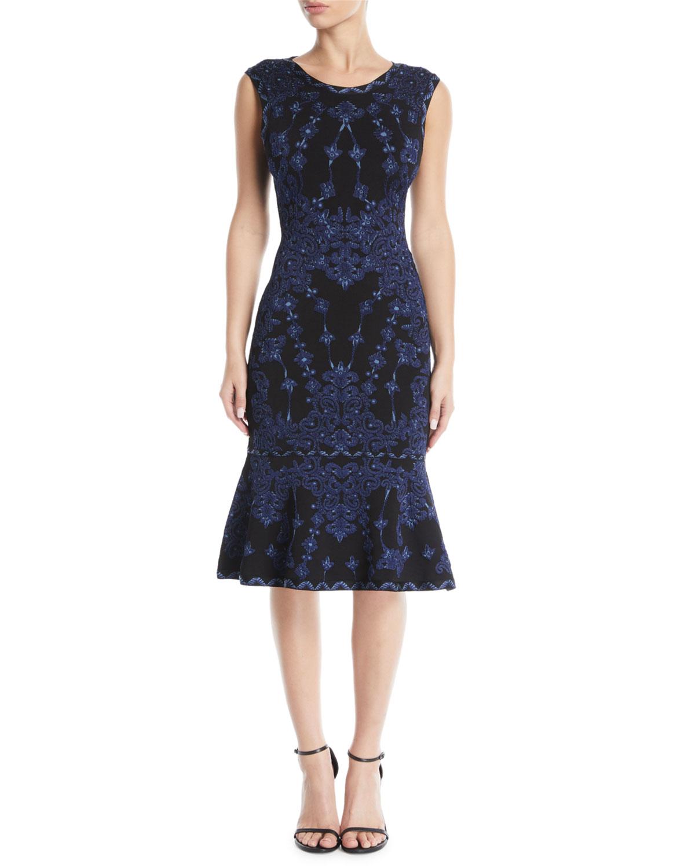 Sleeveless Round-Neck Damask-Jacquard Cocktail Dress