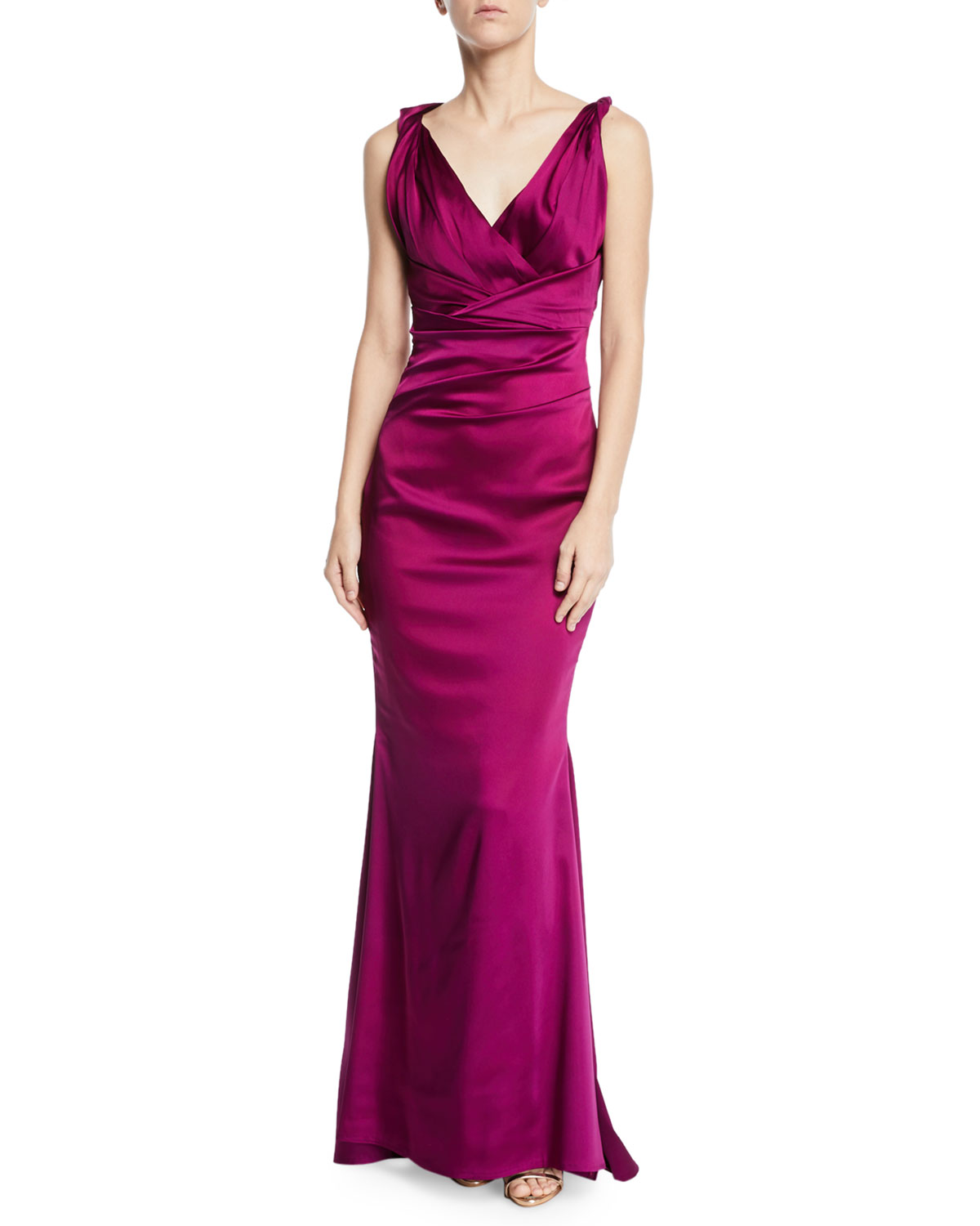 Rotura Sleeveless Draped-Waist V-Neck Gown