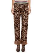 Alanui Leopard-Intarsia Crewneck Pullover Sweater w/ Leather
