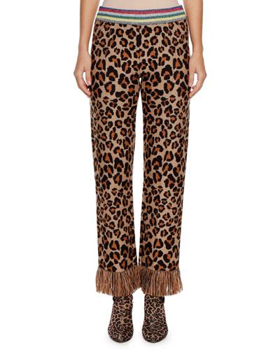 Leopard Intarsia Knit Straight-Leg Pants w/ Fringe Cuff