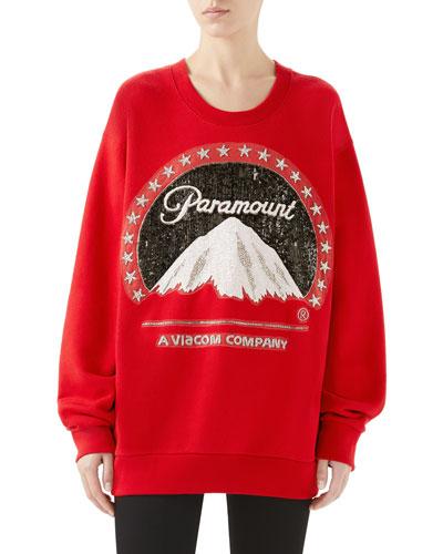 Paramount Embroidered Oversized Felted Cotton Sweatshirt