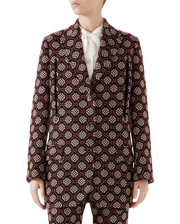 Gg Net Single-Breasted Cape Jacket, Black Pattern