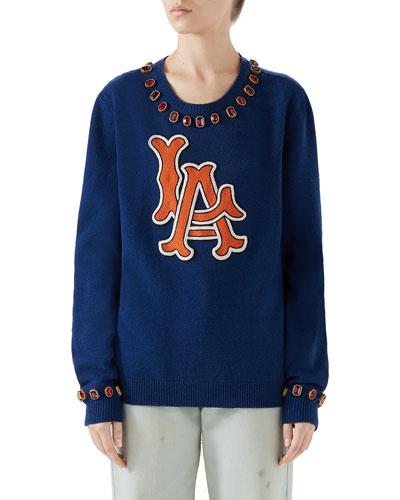 LA Angels MLB Jeweled-Trim Crewneck Wool Sweater
