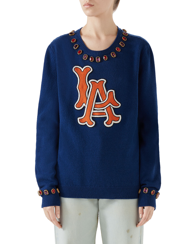La Angels Mlb Jeweled-Trim Crewneck Wool Sweater, Dark Blue