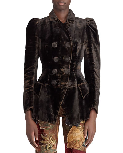 50th Anniversary Bettie Double-Breasted Velvet Jacket w/ Puff-Sleeves