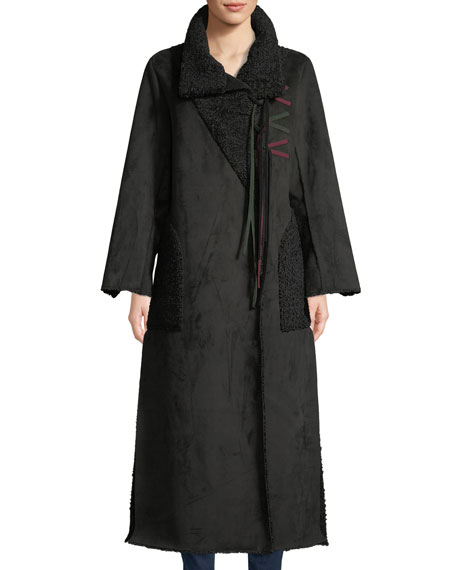 Amanda Baldan Long Tie-Front Faux-Suede Coat w/ Sun-Catcher Embroidery
