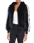 Amanda Baldan Christy Star-Intarsia Faux-Fur Bomber Jacket