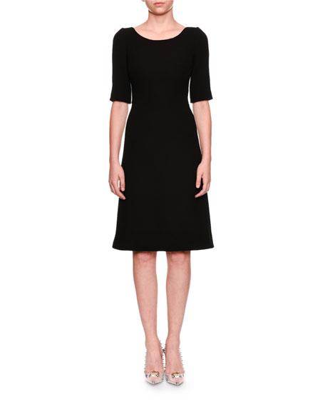 Dolce & Gabbana Elbow-Sleeve Jewel-Button Back Wool Cocktail Dress