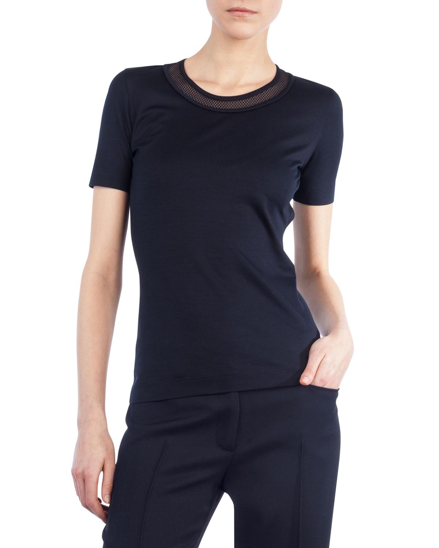Mesh-Trim Short-Sleeve T-Shirt