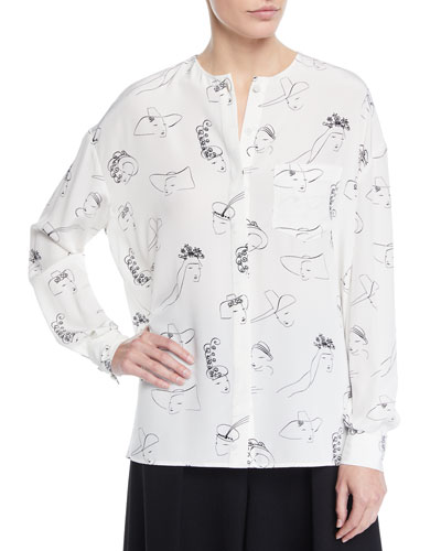 Long-Sleeve Face-Print Collarless Silk Tunic Blouse