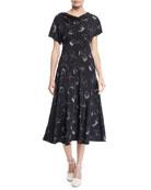 Co Drape-Neck Cap-Sleeve Face-Print Bias-cut Silk Dress