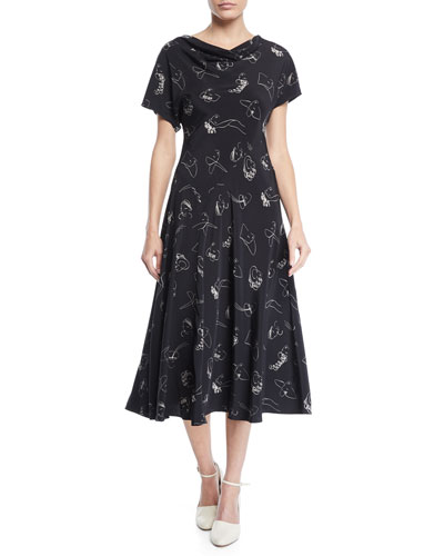 Drape-Neck Cap-Sleeve Face-Print Bias-cut Silk Dress