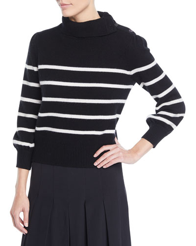Funnel-Neck Striped Wool-Cashmere Sweater w/ Button Shoulder