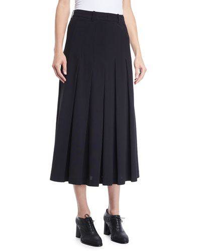 Pleated A-Line Long Lightweight Suiting Skirt