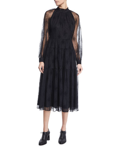 Ruffle-Neck Long-Sleeve Floral-Embroidered Tiered Mesh Dress