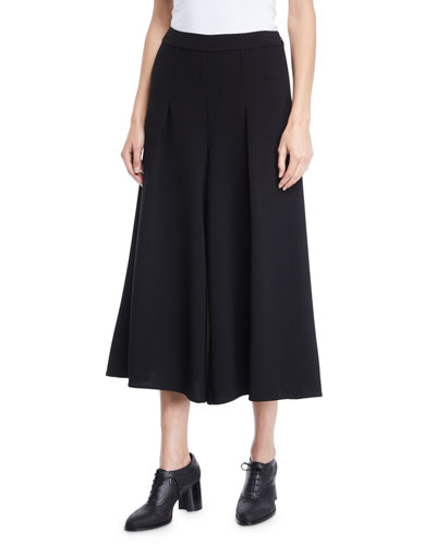 Flat-Front Wide-Leg Heavy Crepe Cropped Pants