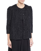 Co Collarless 3/4-Sleeve Metallic-Tweed Jacket