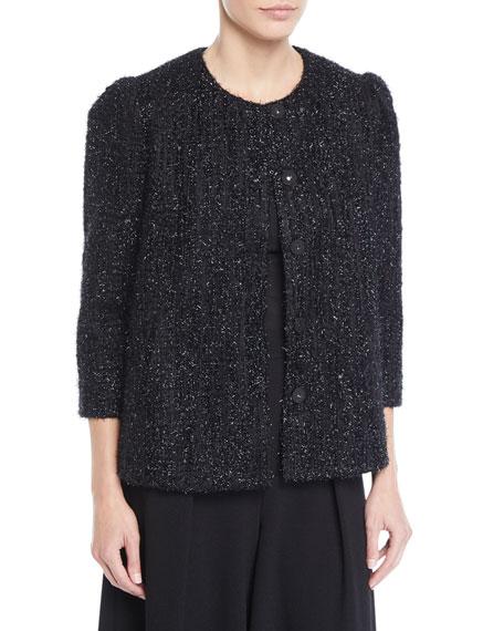 Co Collarless 3/4-Sleeve Metallic-Tweed Jacket
