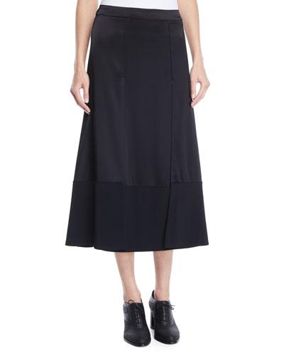Satin and Stretch-Crepe Paneled Midi Skirt