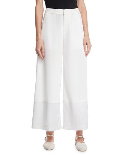 Flat-Front Wide-Leg Pants w/ Contrast Hem