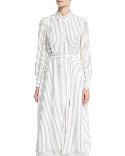 Long-Sleeve Button-Front Belted Striped Satin Long Shirtdress