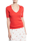 Co V-Neck Short-Sleeve Ribbed Cashmere Polo Top