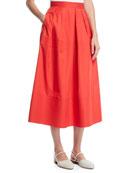 Co Trapunto-Hem Light-Twill Full Circle Midi Skirt