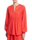 Co Split-Neck Bib Long-Sleeve Light-Twill Tunic Blouse