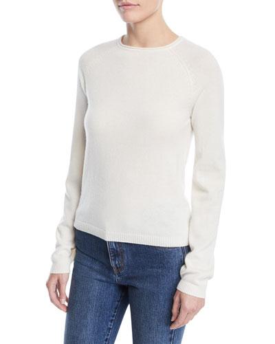 Crewneck Raglan-Sleeve Cashmere Knit Sweater