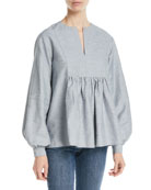Co Split-Neck Bib Blouson-Sleeve Slub Linen Tunic