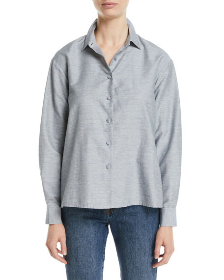 Co Button-Front Long-Sleeve Pleated-Back Slub Linen Swing Shirt