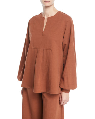 Split-Neck Long-Sleeve Tropical Cotton Tunic Blouse
