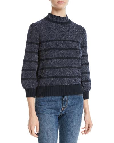 Mock-Neck 3/4-Sleeve Striped Metallic-Knit Sweater