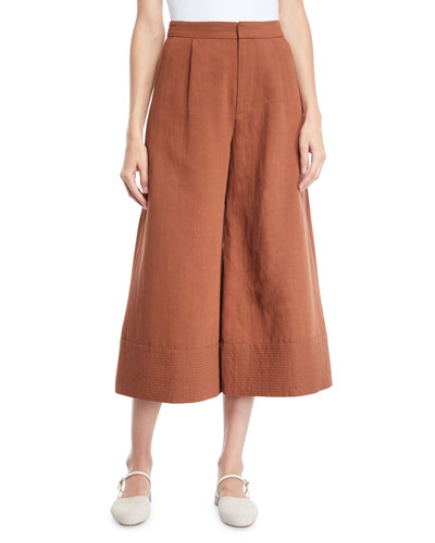 Wide-Leg Cropped Pants w/ Trapunto Hem