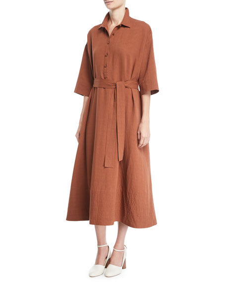Co Button-Front 1/2-Sleeves Tropical Cotton Long Shirtdress
