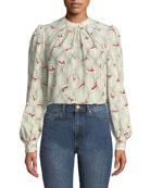 Co Gathered-Neck Blouson-Sleeve Hat-Print Silk Blouse