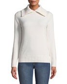 Co Wool-Cashmere Ribbed-Collar Sweater